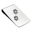 two paw prints on stainless steel money clip