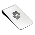 paw print on stainless steel money clip