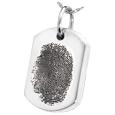 Silver Dog Tag Natural Fingerprint Jewelry with compartment