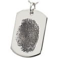 Silver Flat Dog Tag Natural Fingerprint Jewelry