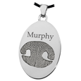 Nose print on oval silver charm keepsake