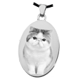 Oval Pet Keepsake with photo front silver charm
