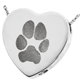 Wholesale B&B Heart Actual Pawprint Pet Jewelry chamber silver