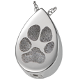 Silver Teardrop Pawprint Jewelry with compartment