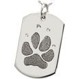 Silver Flat Dog Tag Pawprint Jewelry