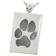 No chamber style sterling silver Wholesale B&B Rectangle Pawprint Jewelry