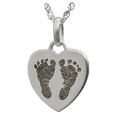 Wholesale Silver Petite Heart 2 Footprints Flat Charm
