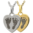 Wholesale Petite Heart 2 Footprints Flat Charm in silver or gold