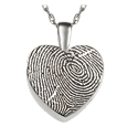 Wholesale Silver Petite Heart Fingerprint Jewelry with compartment