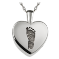 Wholesale Silver Petite Heart Footprint Jewelry with compartment