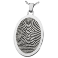 Flat Silver Oval Rim Fingerprint Jewelry