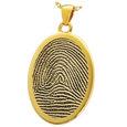 Gold Flat Oval Rim Fingerprint Jewelry