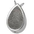 Silver Teardrop Rim Fingerprint Jewelry with compartment