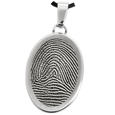 Stainless Steel Flat Oval Rim Fingerprint Jewelry