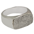 Wholesale Silver Rectangle Ring Fingerprint Jewelry