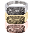 Rectangle Ring Fingerprint Jewelry in silver, yellow gold and rose gold