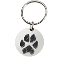 Wholesale Pet Print Key Ring: Stainless Steel Round Tag Paw Print