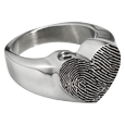 Wholesale Bold Heart Fingerprint Stainless Steel Ring with urn chamber