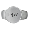 Front of Premium Stainless Steel Round Ring Cremation Jewelry engraved