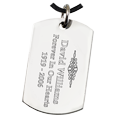 Engraved back shown of Large Stainless Steel Dog Tag Footprint