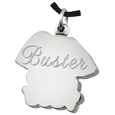 My Sweet Dog Stainless Steel urn pendant shown with back engraving
