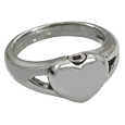 Urn opening shown at top of Premium Stainless Steel Simple Heart Ring
