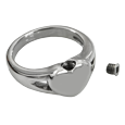 Urn shown with threaded screw of Premium Stainless Steel Simple Heart Ring