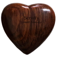 Wholesale Walnut Wooden Heart Keepsake Pet Urn shown engraved