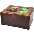 Shown with photo wood pet urn memory chest