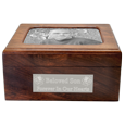 Urn shown with metal photo plaque on top & engraved plaque on front
