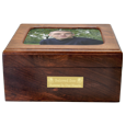 Urn shown with photo and engraved plaque