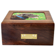 Memory pet urn shown with small engraved plaque & photo