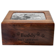 Shown with photo and engraved front of Memory Chest Wooden Box Dog Urn