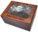 Color photo and text engraving shown on Memory Chest Wooden Box Urn