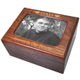 B&W photo and text engraving shown on Memory Chest Wooden Box Urn