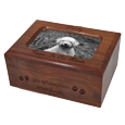 Memory Chest Wooden Dog Urn with Photo Window- Small with black fill
