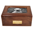 Front shown with plaque of Memory Chest Wooden Box Dog Urn