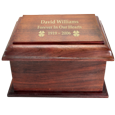 Wholesale Stately Wood Cremation Urn- Large shown with gold fill engraving