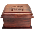 Top of Stately Wood urn shown engraved directly into wood