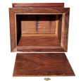 Urn compartment shown of wood urn
