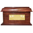 Large engraved plaque shown on front of Stately Wood Large pet urn