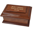 Wholesale Stately Wood Sharing Urn shown with gold fill engraving