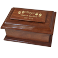 Stately Wood Pet Urn shown with gold fill engraving