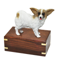 Papillon dog figurine wood urn