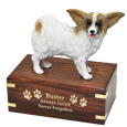 Papillon dog figurine with engraved wood urn base