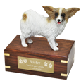 Papillon dog figurine wood urn with engraved plaque