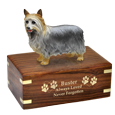 Wholesale Silky Terrier figurine with gold engraved wood urn
