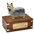 Wholesale Silky Terrier figurine wood urn with engraved plaque
