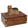 Wholesale long haired Yorkshire Terrier figurine and engraved wood urn