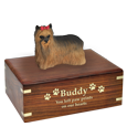 Wholesale long haired Yorkshire Terrier figurine and gold engraved wood urn